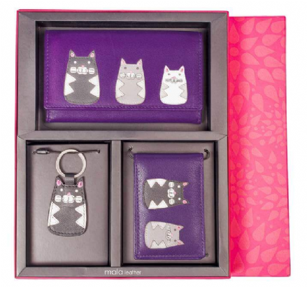 Flap Over Purse, Cat Keyring & ID Holder, Cats Gift Set